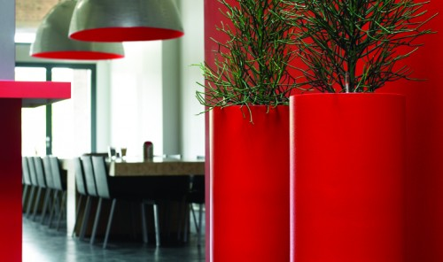 Red Office Planters